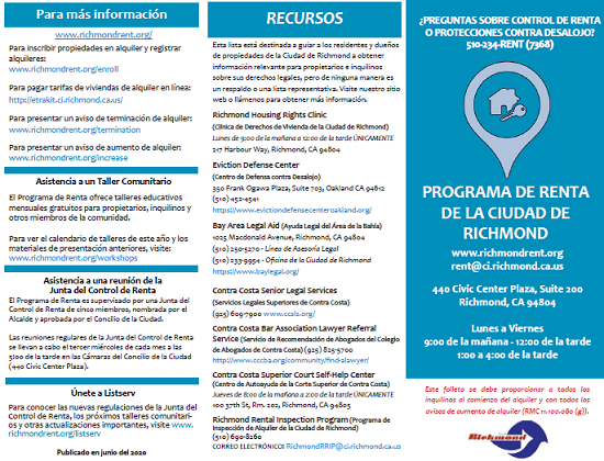 Rent Program info brochure SPANISH