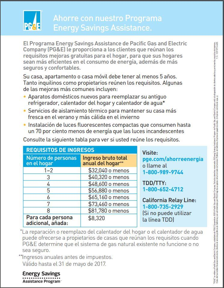 Programa Energy Savings Assistance PGE