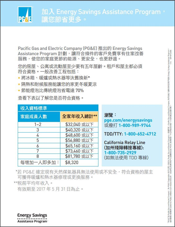 PGE Energy Savings Assistance Program in Chinese
