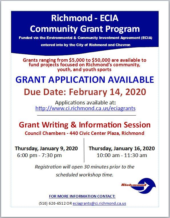 Fiscal Year 20 21 ECIA Grant Writing and Info Session Flyer