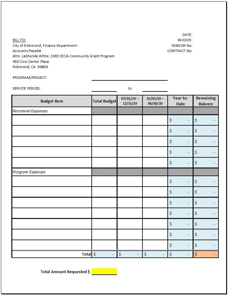 Invoice Reimbursement Template