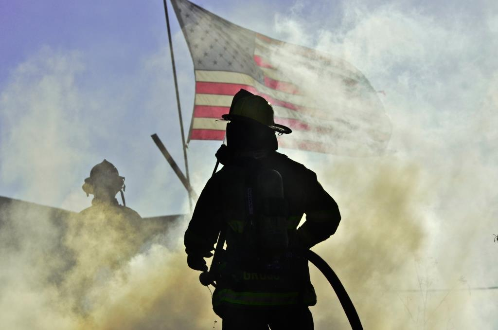 Fire Fighter Gross With Flag