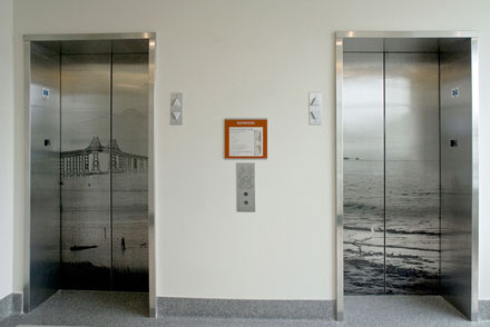 Photo of the Art on the Elevator Doors of City Hall on the 2nd Floor