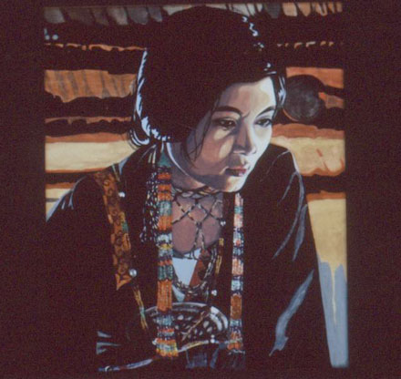 Gouache Photo on Board of a Philipino Woman