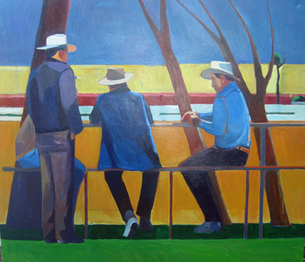 Painting of Men Sitting on a Picnic Table