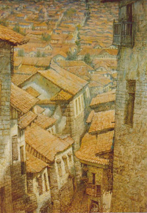 Painting of A Town's Houses