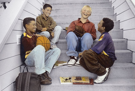 Picture of Four Boys Sitting on Steps